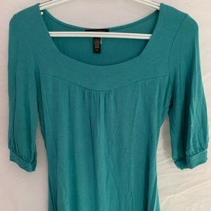 Turquoise/Teal Square Neck 3/4 Sleeve Tee